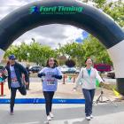 Dr. Mahajan, Maya, and Jing make a strong finish at the Stanford Ophthalmoolgy Lookin' for a Cure 5K fundraiser