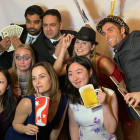 "The Mahajan Lab attends the  2018 Department of Ophthalmology ""Hollywood"" Holiday Party at the Stanford Faculty Club on December 6, 2018. Angela Li, Kellie Schaefer, MaryAnn Mahajan, Jing Yang, Teja Chemudupati, Vinu Mahajan, Katie Wert, and Paul Finn strike a glamorous pose."