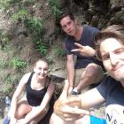 """Kellie, Marc, and Gabe hike the waterfall trail in Steam Boat Springs at """"Camp Calpain"""" in Colorado. June 2017."""